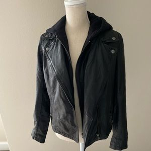 New Caslon hooded leather jacket